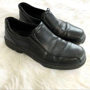 Ecco Black Leather Apron Toe Loafers Size 46